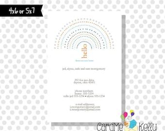 Printable Rainbow Polkadot Change of Address Colorful Postcard Digital File
