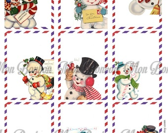 Vintage Retro Snowman Airmail Christmas Tags - DIY Printable - INSTANT DOWNLOAD