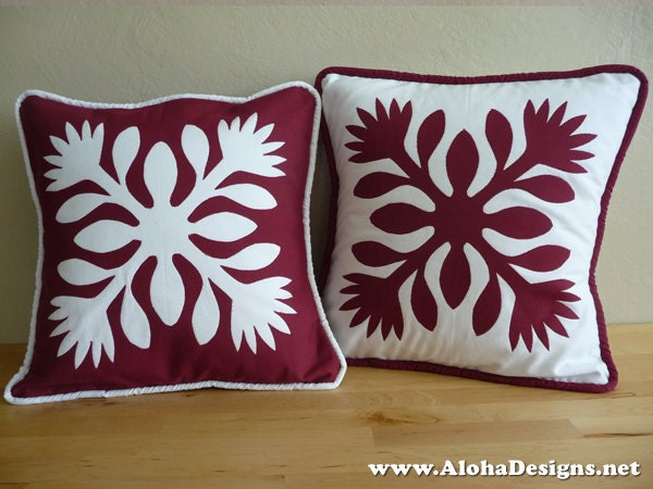 Hawaiian Quilt Pillow Covers red lehua flowers : hawaiian quilt pillow covers - Adamdwight.com