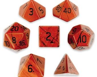 Set of 7 Handmade Stone Polyhedral Dice, Red Jasper