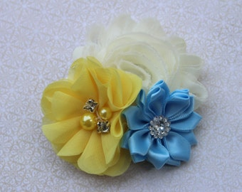 yellow and light blue hair bow, yellow girls hair bows, girls light blue hair clip, blue and yellow flower girl bows, toddler hair clips