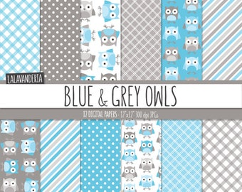 Blue Owl Digital Paper Pack. Cute Owl Patterns with Blue and Grey Backgrounds. Digital Scrapbook