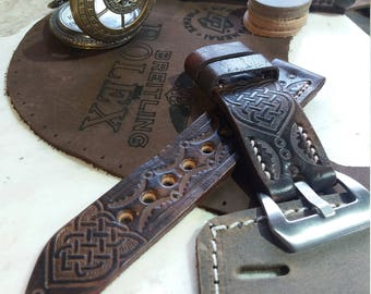 Father's Day Brown Leather Apple Watch Buckle 38mm 42mm  Series 1 2 3 Men's Strap Horween Leather Custom Size Bracelet Watch Tooled