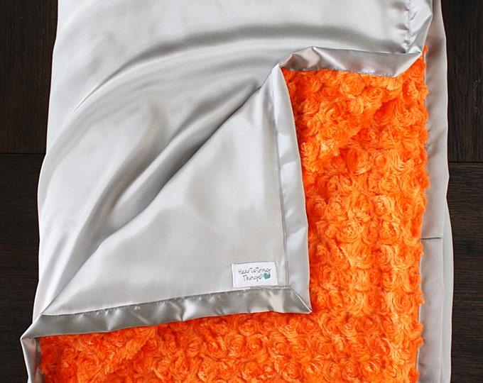 Minky blanket, grey and orange, silver and orange, Blanket for Man, baby boy, baby girl, unisex blanket, soft blanket, large blanket, minky