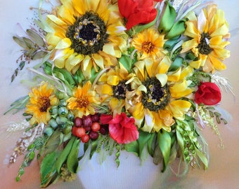 """Ribbon embroidery picture """"Sunflowers"""",  Silk ribbon embroidery, sunflowers embroidery, art of embroidery ribbon work, poppies, wild flowers"""