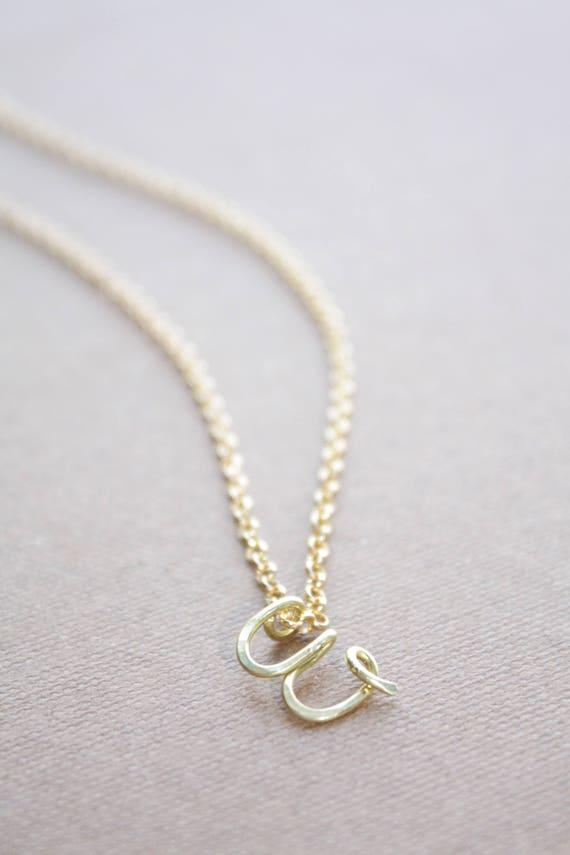 Buchstabe W Halskette Gold erste Kette Schreibschrift Brief