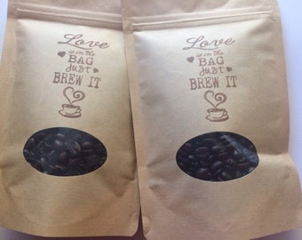 Personalized Wedding Favor Bags,Kraft Coffee Favor Bags,The Perfect Blend,Love is in the Bag Just Brew it,Rustic Wedding Favor,Tea Favor Bag