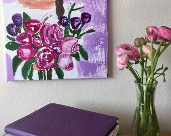 Original Acrylic Art Peony Bouquet on a Purple Morning