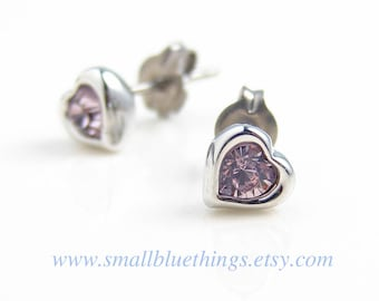 Heart Stud Earrings ~ Teeny Tiny Amethyst Heart Earrings. Swarovski Light Amethyst Heart Studs. Bridesmaid Earrings. Titanium Post Earrings