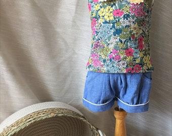 Toddler tank/ little girl tank/ little girl top/ floral top/ sleeveless top
