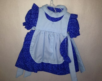 """Blue Dress with Apron for 18"""" dolls"""