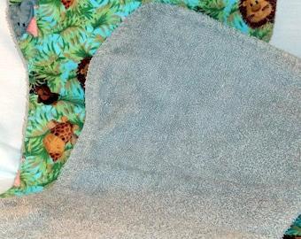 Jungle Babies Burp Cloth Set with Gray