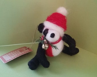 Panda Santa Felted Wool Ornament - NEW for 2016