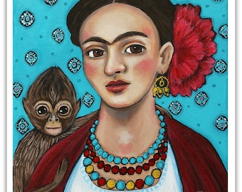 Frida Kahlo with Monkey - Art Print - Art by Regina Lord