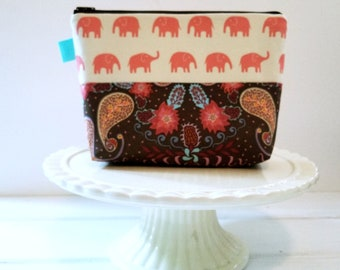 Boho Elephant Cosmetic Makeup Bag, Vacation Zipper Pouch, Bohemian Travel Bag,  Pink Brown Zipper Bag by Oh Koey in Elephants and Paisley