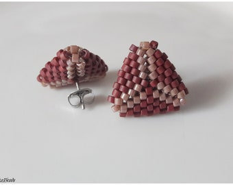 Pastel pink  triangle stud peyote stitch Miyuki Delica earrings handmade jewelry