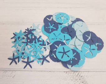 100 Blue Sand Dollar and Starfish Confetti-1 Inch-Scrapbooking-Gift Wrapping-Embellishments-Wedding-Party-Cards-Die cuts-Punches