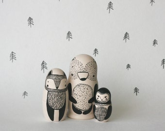 STAY WILD set of 3 black and white wooden handpainted russian nesting dolls / matryoshka dolls / babushka dolls - bear, fox and owl