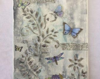 Butterflies in the Garden Mixed Media Art