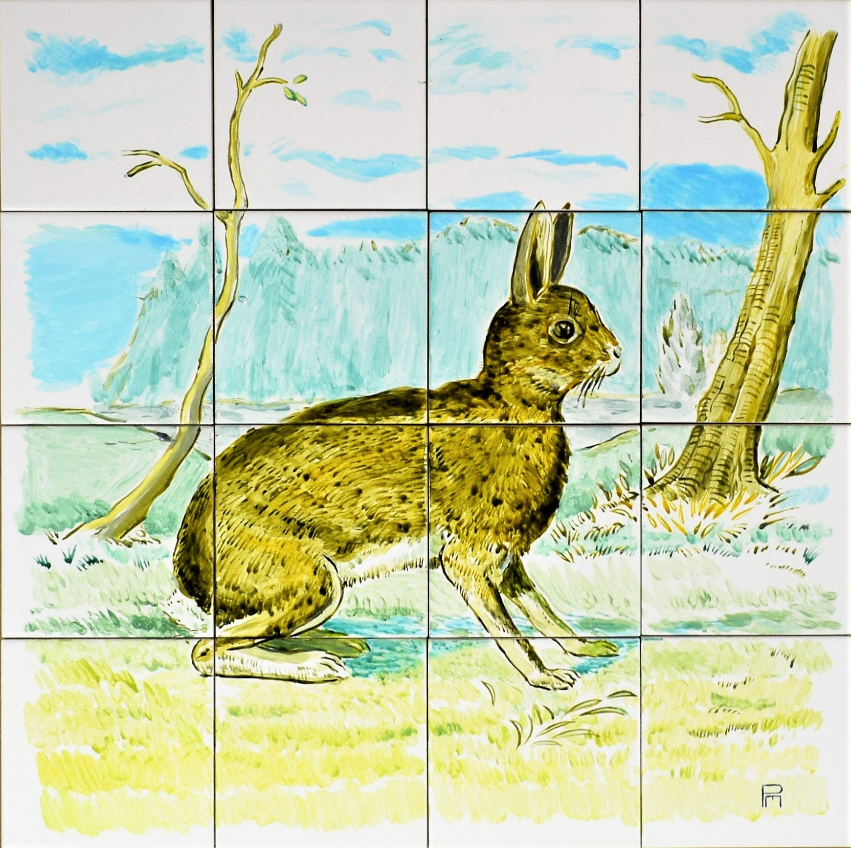 The Brown Hare Decorative tile Handpainted Wall Tile Mural /