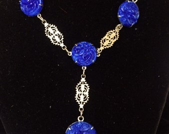 Vintage Art Deco Filigree Necklace with Vibrant Blue Stones