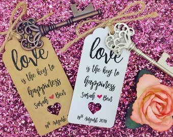 Bottle Opener Wedding Favour With Personalised Tags, The Key to Happiness is love