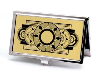 Gold Art Deco Business Card Holder - Retro Credit Card Holder - Calling Card Case - Business Card Case - Metal Card Wallet - Employee Gift