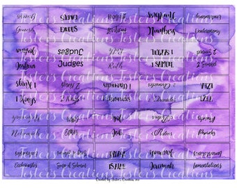 Double Sided- PRINTABLE-Bible Tabs-purple-blue-For TAB Punch