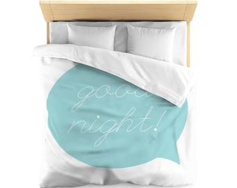Good Night Microfiber Duvet Cover Simple for Tweens, Kids, Boys or Girls