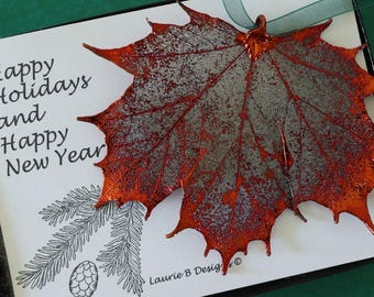 Copper Maple Leaf Ornament, Real Leaf Maple, Maple Leaf Extra Large, Ornament Gift, Christmas Card, ORNA63