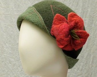 Reversible Cloche Hat in Olive and Mossy Green Felted Wool w/Removable Flower Pin - Flower Cloche - Wool Felt Hat - Wool Cloche