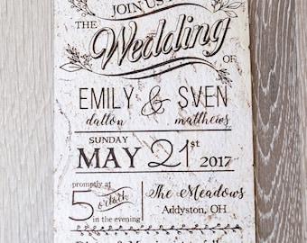 Rustic cork wedding invitation, wedding invites, natural cork wedding invite, laser engraved wedding invitation, set of 10