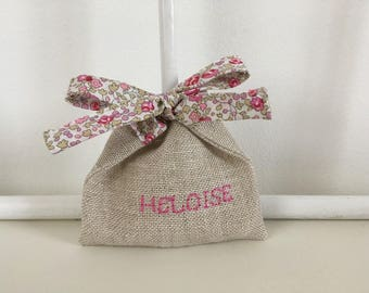Pink pouch natural linen and liberty Eloise bow christening favors