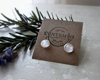 White Stud Earrings, Agate Earrings, Sterling Silver Studs, Wire Wrapped Earrings, Natural Stone Posts, Hypoallergenic, White Stone Studs