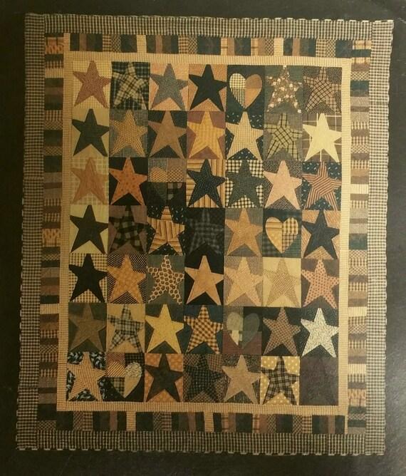 Primitive Quilt Pattern, Easy Stars Pattern, Linda Brannock, Country Style Quilt, Folk Art Stars