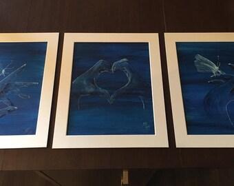 Trio of  original watercolour paintings 'Devine's loving touch'