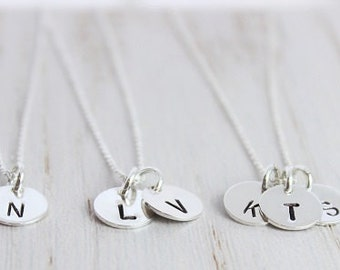 initial necklace, letter jewelry, tiny token initials, custom stamped letter necklace, gift for her, bridesmaid gift, dainty necklace,