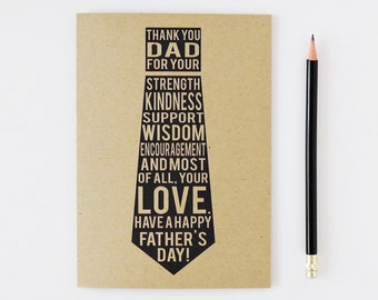 Happy Father's Day Card / Thank you Dad / Tie with Text / 5x7 Card / Charitable Donation