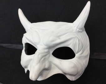 Blank White Demon Masquerade mask base Devil Horns