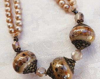 Handworked Beaded Necklace Featuring a Handmade Lampwork Bead with Cultured Pearls and Glass Beads