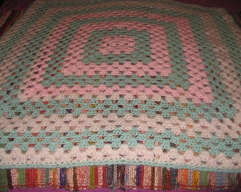 Vintage ANGORA Crochet nana knee/bed throw or topper, cot blanket...etc beautiful cond.