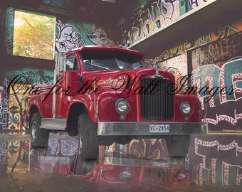 Red Mack Truck, Graffiti Digital Backdrop/Background for use in composite work