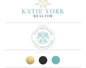 Gold Real Estate Logo Design Realtor Logo Key Logo Blue Realtor Marketing Real Estate Agent Real Estate Branding Package Broker Logo