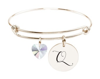Initial Bangle made with Crystals from Swarovski - Q - SWABANGLE-RGD-AB-Q - Gold