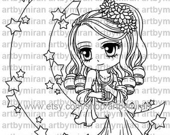 Digital Stamp -Aisha Moon Goddess(#350), Digi Stamp, Coloring page, Printable Line art for Card and Craft Supply