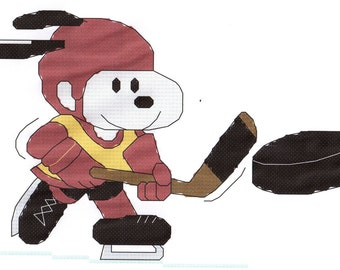 Snoopy Playing Hockey Cross Stitch Pattern