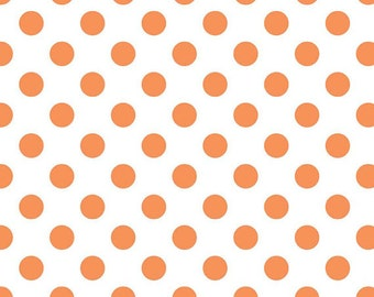 Orange on White Medium Dots Fabric by Riley Blake Designs - by the Yard - 1 Yard