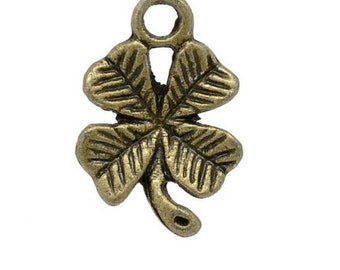 Set of 10 (R03) bronze lucky 4 leaf clover charms