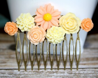 Flower Hair Comb, Bridal Accessories, Hair Accessories, Bridesmaids, Bridesmaid Gift, Wedding Jewelry