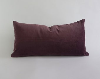 English Lavender Cotton Velvet Pillow Cover-Decorative Bolster Pillows -Invisible Zipper Closure -Knife Or Piping Edge -16x16 to 26x26